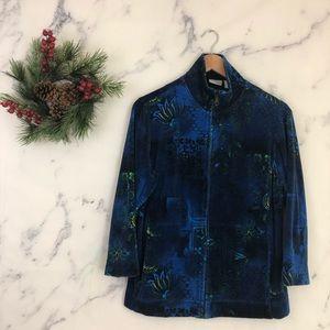 Chicos Spa Floral Velvet Jacket